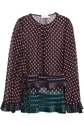 ZIMMERMANN Satin-trimmed polka-dot crepe blouse