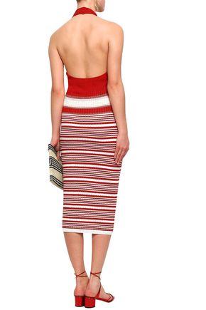 MISSONI Striped crochet-knit halterneck midi dress