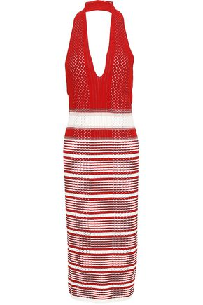 MISSONI Striped crochet-knit halterneck midi dress