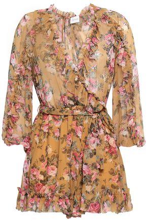 ZIMMERMANN Wrap-effect ruffled floral-print silk-georgette playsuit