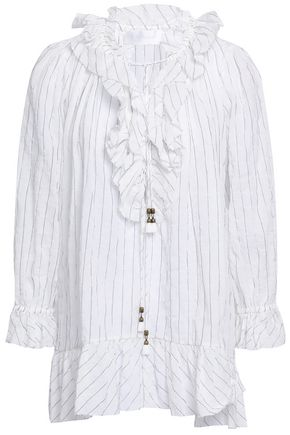 ZIMMERMANN Ruffled striped cotton-blend gauze blouse