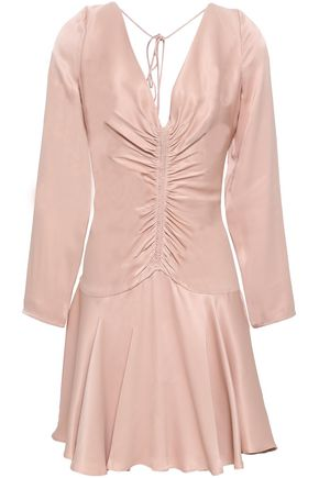 ZIMMERMANN Cutout ruched crepe-satin mini dress