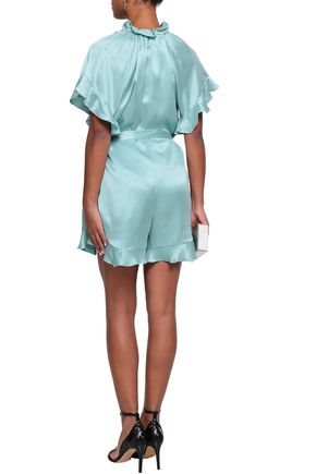 ZIMMERMANN Ruffled silk-satin playsuit