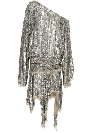 ZIMMERMANN One-shoulder sequined gauze mini dress