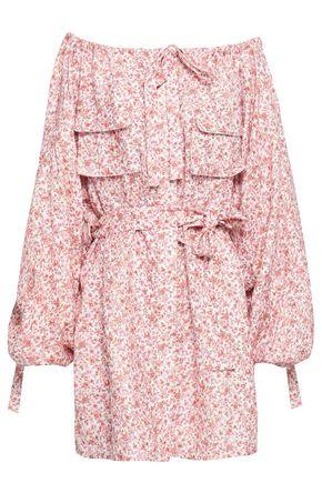 ZIMMERMANN Off-the-shoulder floral-print linen dress