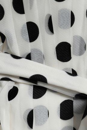 ZIMMERMANN Rife tie-front pleated polka-dot chiffon midi dress