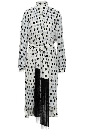 ZIMMERMANN Rife tie-front pleated polka-dot chiffon midi dress