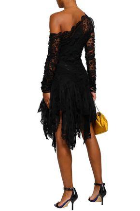 ZIMMERMANN One-shoulder lace-paneled polka-dot georgette dress