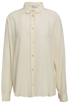 REDValentino Scallop-trimmed silk crepe de chine shirt