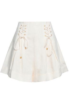 ZIMMERMANN Lace-up striped linen shorts