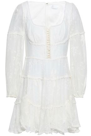 ZIMMERMANN Lace-up broderie anglaise silk-georgette mini dress
