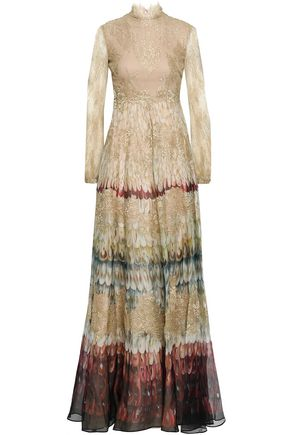 VALENTINO Paneled metallic lace and printed organza gown