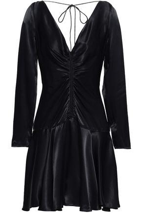 ZIMMERMANN Cutout ruched crepe-satin mini dress