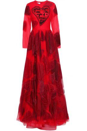ヴァレンティノ 装飾&アップリケ付き ドットチュール ロングドレス