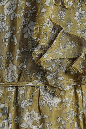 ZIMMERMANN Ruffled silk-georgette midi dress