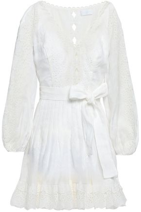 ZIMMERMANN Belted broderie anglaise linen mini dress