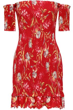 ZIMMERMANN Off-the-shoulder floral-print linen and cotton-blend mini dress