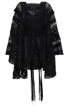 ZIMMERMANN Maples Boudoir crochet-trimmed embroidered silk-satin and chiffon-jacquard mini dress