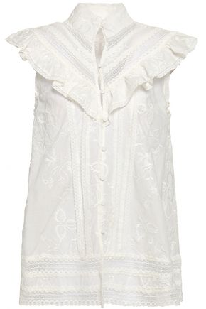 ZIMMERMANN Ruffled embroidered cotton-poplin top