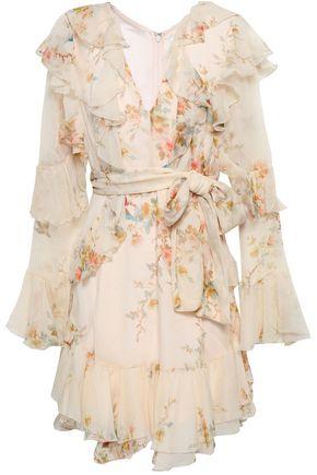 907d684b79451 Ruffled floral-print silk-georgette mini dress | ZIMMERMANN | Sale ...