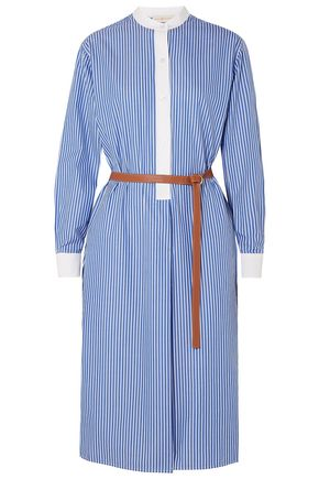 TORY BURCH Spencer belted striped cotton-poplin dress