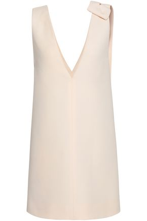 VALENTINO Bow-embellished wool and silk-blend mini dress