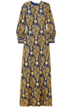 TORY BURCH Alice embellished metallic-embroidered lace and satin gown