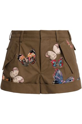 VALENTINO Embroidered cotton-gabardine shorts