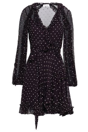 ZIMMERMANN Embroidered silk-georgette mini wrap dress