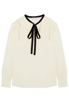 TORY BURCH Diana pussy-bow pleated silk-chiffon blouse