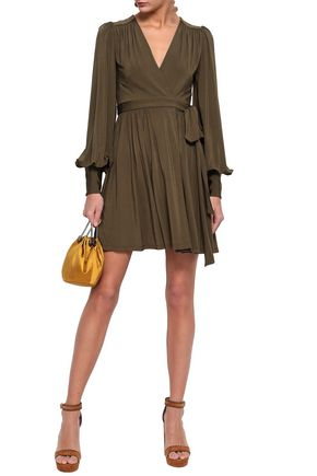 ZIMMERMANN Gathered jersey mini wrap dress