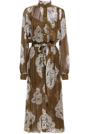 ZIMMERMANN Gathered printed silk-georgette midi dress