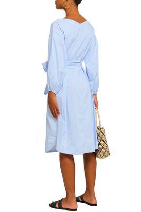ZIMMERMANN Folly bow-detailed stretch-cotton poplin midi dress