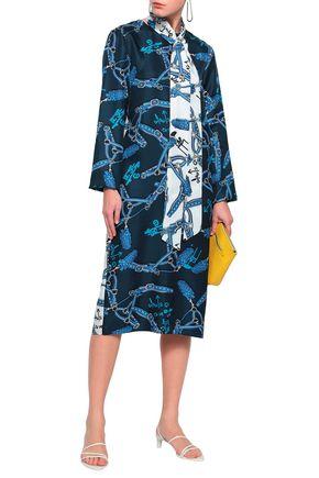 TIBI Pussy-bow paneled printed silk-twill midi dress
