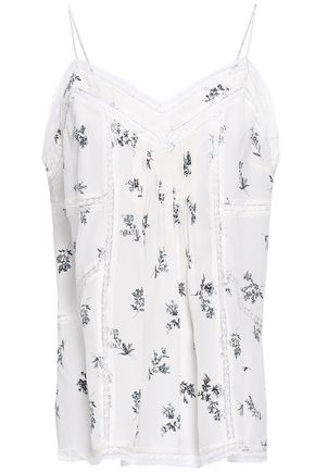 ZIMMERMANN Pintucked lace-trimmed floral-print silk top