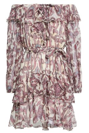 ZIMMERMANN Belted ruffled printed silk-georgette mini dress