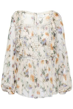 ZIMMERMANN Crochet-trimmed floral-print silk-georgette blouse