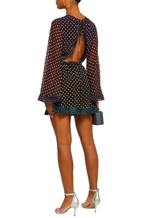 ZIMMERMANN Cutout polka-dot chiffon playsuit