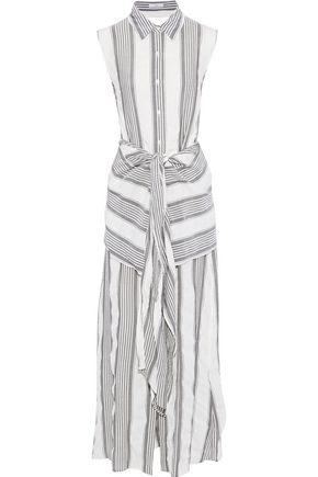 TOME Tie-front striped gauze maxi shirt dress