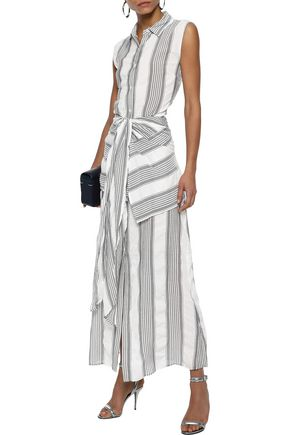 TOME Tie-front striped gauze maxi shirt dress