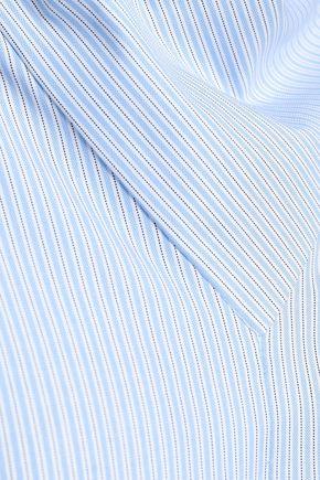 TIBI Bow-detailed striped cotton-oxford shirt