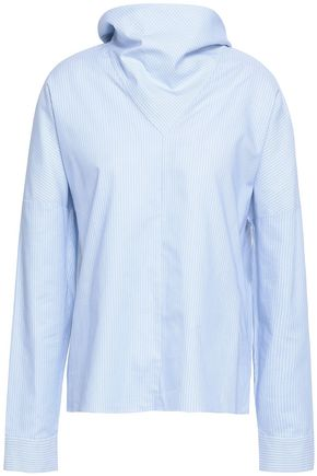 TIBI Bow-detailed striped cotton-oxford shirt