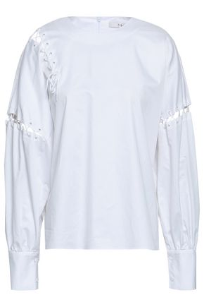 TIBI Cutout cotton-poplin top