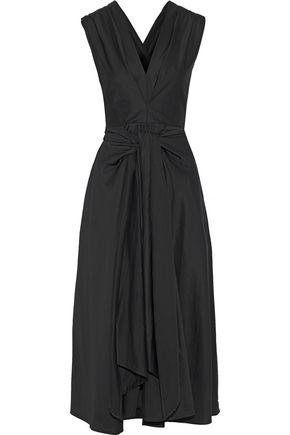 TOME Tie-front cotton-blend poplin midi dress
