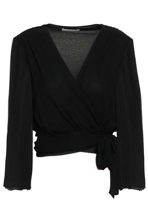 ALICE + OLIVIA Pleated silk crepe de chine wrap top