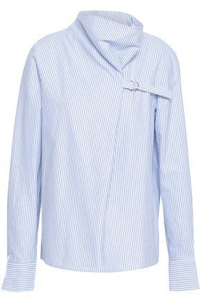 TIBI Striped cotton-poplin blouse