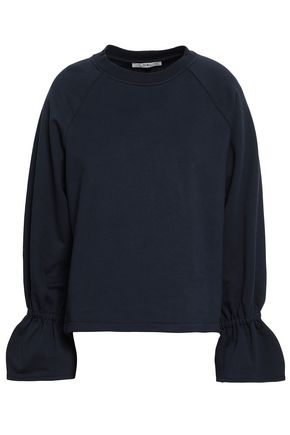 TIBI Fluted French cotton-blend terry sweatshirt