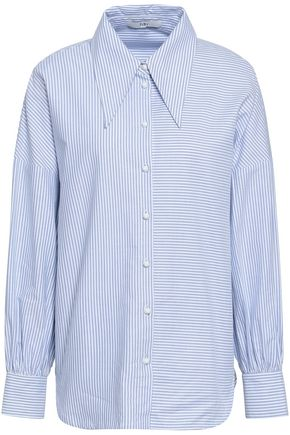 TIBI Oversized striped cotton-oxford shirt