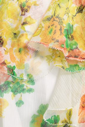 ZIMMERMANN Golden off-the-shoulder floral-print silk-georgette mini dress