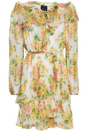 ZIMMERMANN Golden off-the-shoulder floral-print silk-georgette mini dress